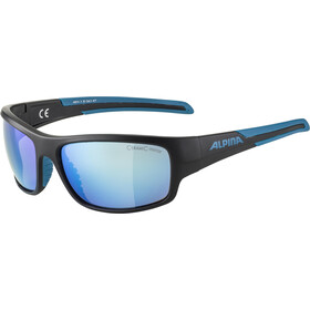 Alpina Testido Gafas, black matt/blue/blue mirror